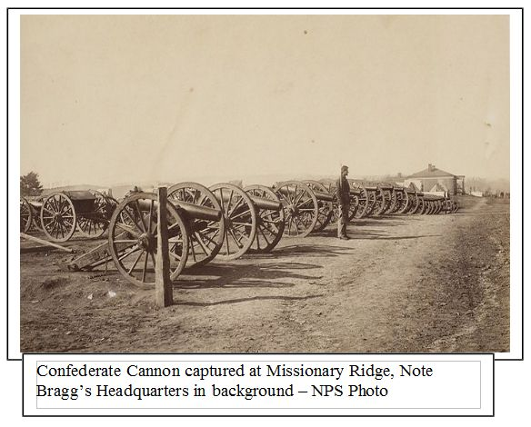 Confederate cannon captured at Missionary Ridge