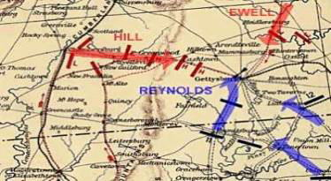 Map - The roads leading to Gettysburg